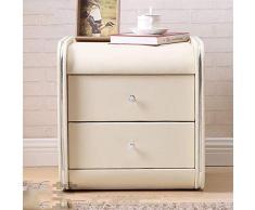 Kutera Nachttisch Spind Leder Nachttisch Nachttisch Mit Schubladenschrank Mehrere Farben Erhältlich Weiß
