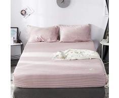 GUANLIDE Spannbetttücher Baumwolle,Spannbetttücher, flaches Stück Baumwolle, Matratzenbezug für Schlafzimmertextilien vertiefenRosa Streifen_120 * 200cm