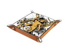 FCZ Antiker Engels-Baby-Leder-Tablett für den Nachttisch, Aufbewahrungsbox für Schmuck, Schlüssel, Münzen, Süßigkeiten