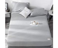 GUANLIDE Laken,Spannbetttücher, flaches Stück Baumwolle, Matratzenbezug für Schlafzimmertextilien vertiefenSchwarze Streifen_135 * 200cm