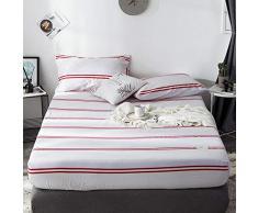 GUANLIDE Laken Baumwolle,Spannbetttücher, flaches Stück Baumwolle, Matratzenbezug für Schlafzimmertextilien vertiefenWeißrot gestreift_120 * 200cm