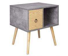 WOLTU Nachttisch TSR72gr Nachtkommode Nachtschrank Beistelltisch Sofatisch, mit Schublade und Offenem Fach, mit Beinen, Holz, Grau, 48x40x50cm(BxTxH)