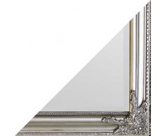 Beauty.Scouts Wandspiegel Soluna II, Spiegel, Rahmenspiegel, Klarglas, Facette, Holz, silber, Wohnzimmer, Schlafzimmer, Jugendzimmer, Flur, Diele, inkl. Aufhänger, 60x160cm