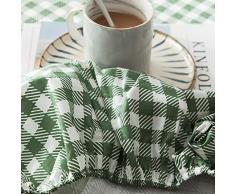 GUANLIDE spannbetlaken matratzenschutz,Spannbetttücher, flaches Stück Baumwolle, Matratzenschoner für Schlafzimmertextilien vertiefenGreen Plaid_100 * 200cm