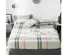 GUANLIDE spannbettlaken für Topper,Spannbetttücher, flaches Stück Baumwolle, Matratzenschoner für Schlafzimmertextilien vertiefenBeige Plaid_150 * 200cm