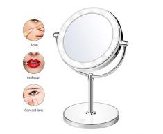 WFWPY Doppelseitiger Kosmetikspiegel Spiegel mit LED-Schminkspiegel mit 3-fachem Vergrößerungsspiegel Kosmetikspiegel für Bürotheke im Bad- oder Schlafzimmerspiegel mit 360 ° Drehung