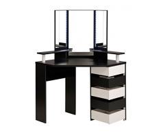 Schminktisch Volana 1 schwarz weiss 111x141x78 cm Spiegel 5x Schubkasten Frisierkommode Frisiertisch