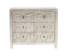 Kare Kommode Alhambra, Kleines Sideboard, Wohnzimmer - Kommode mit Schubladen, Silber lackierter Holzschrank, (H/B/T) 88x108x38cm