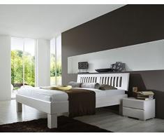 Dreams4Home Massivholzbett Paris I-140;180;200x200, Buche massiv, weiß gebeizt, Liegefläche:200x200 cm, Nachtkonsole:Zwei Nachtkonsolen