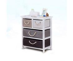 NA Wohnm/öbel Nachttisch Massivholz Rattan Aufbewahrungsbox Schublade Schlafzimmer Schlie/ßf/ächer