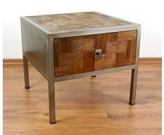 Java Beistelltisch aus Metall und Teakholz | Nachttisch im Industrial Design | Asiatische Möbel der Marke Asia Wohnstudio | Nachtschrank | Asia Kommode | Teakholzmöbel (Handarbeit)