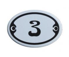 Nummer 3 Mini Emaille Schild Jugendstil ca. 4,2 x 6,2 cm Türschild Zimmer Schublade Schrank Kommode Emailschild oval weiß