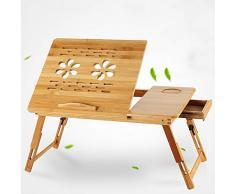 Tragbarer Notebook-Tisch, Bambus Bett-Tisch Verstellbarer Tisch mit Schublade, Lüftungslöcher(19.7 x 11.8)