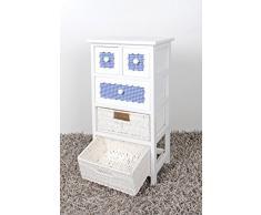 Landhaus Kommode Nachttisch Schrank Beistelltisch Flur Weiß Körbe Schubladen