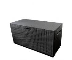Auflagenbox Nizza, rollbar, Kunststoff, Anthrazit, 350L, 120x52xH60cm, Gartenbox Gartentruhe Kissenbox für Polsterauflagen