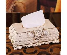 LCNINGZJH Vergoldete Gewebebox aus Keramik, rechteckig, 26 * 16 * 10cm, antiker Serviettenhalter im Vintage-Stil, Nachttisch und Kommode (Elfenbein)