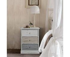 Rebecca Mobili Nachttisch Nachtschrank Nachtkästchen Kommode 3 Schubladen Paulownienholz weiß beige grau Shabby Vintage Look Knöpfen Schlafzimmer Badezimmer - 53,5 x 40 x 29 cm (H x B x T) - Art. RE4263