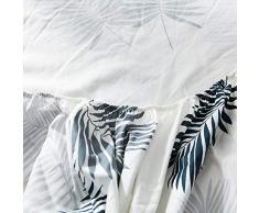 GUANLIDE spannbettlaken matratzentopper,Spannbetttücher, flaches Stück Baumwolle, Matratzenbezug für Schlafzimmertextilien vertiefenWeiße Blätter_135 * 200cm