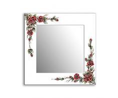 Einzigartiger Spiegel, 3D-Rahmen 80x80cm, Dekorrahmen Flurspiegel Schlafzimmerspiegel Küchenspiegel Stabiler Rückwand, Rahmenleiste: 100x20mm, Model: Rote Rosen auf weißen Rahmen