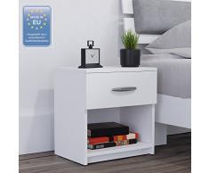 Vicco Nachtschrank Nachttisch Nachtkommode Beistellschrank Kommode Schrank Schublade Schublade Ablage Sonoma Weiß (Weiß, Einzeln)