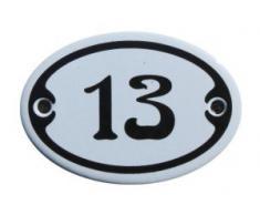 Nummer 13 Mini Emaille Schild Jugendstil ca. 4,2 x 6,2 cm Türschild Zimmer Schublade Schrank Kommode Emailschild oval weiß