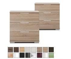 Nachtschrank NIGO auch für Boxspringbett geeignet ( Höhe 58 cm ), Nachtkommode, Holz (MDF) oder Glas, BxHxT: 52 x 58 x 38 cm, 3 Schubladen, Made in Germany, Eiche Sägerau 2 Stück