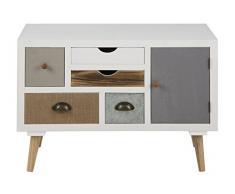 AC Design Furniture 63375 Kommode Suwen mehrfarbigen Schubladen, 1 Tür, Beine Kiefernholz, klar Lack, 5 Stück, weiß/grau