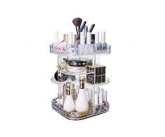 YunNasi Make up Organizer aus Transparentem Acryl 360 Grad Drehbar verstellbar für Kosmetik Lippenstifte Pinsel Nagellack Nagelaufbewahrung Badezimmer Schminkkommode