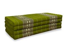 livasia Klappmatratze extrabreit (195cm x 110cm) aus Kapok, Faltbare Gästematratze, klappbare Matratze, asiatische Faltmatratze (grün/Elefanten)