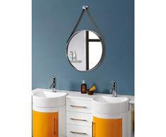 HZJ Nordischer einfacher Wandspiegel - Badezimmer- und Schlafzimmerspiegel - runder Wandspiegel - Glas dekorativer Spiegel (Farbe: Gold, Größe: 50 x 50 cm)