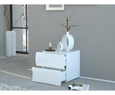 Nachtkommode Nachtkonsole Nachttisch Tisch Kommode Onda I (Weiß-Hochglanz)