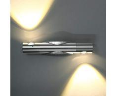 Glighone 6W LED Wandleuchte Innen Modern Up And Down Silber Aus Aluminium  Wandlampe Sconce Für Wohnzimmer