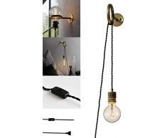 Ycyz Dekorative Wandleuchte Wandleuchte mit Steckern UK und 2,0 m Kabel mit einstellbarem Edison Licht Nachtlichter der Wand befestigtes Messing E27 Loft Bar Wandleuchte for Schlafzimmerspiegel