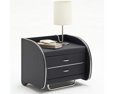 expendio Nachtkonsole Nachttisch Goar 55x49x45cm schwarz, Kunstleder Nachtkommode Nachtschrank