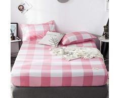 GUANLIDE Spannbetttuch Baumwolle,Spannbetttücher, flaches Stück Baumwolle, Matratzenbezug für Schlafzimmertextilien vertiefenPuder Grid_135 * 200cm