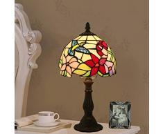 Tiffany Style Schreibtischlampe Kolibri Farbiger Glaslampenschirm Nachttisch Nachtlicht Mit Antiker Legierung Basis Für Schlafzimmer Wohnzimmer, E27