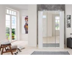 lifestyle4living Kleiderschrank in weiß | Drehtürenschrank, 3-türig, Falttürenschrank mit Spiegeltür ca. 139 cm