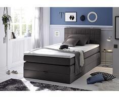 Boxspringbett 120x200 mit Bettkasten, Farbe: anthrazit, inkl Komfortschaum Topper, Matratze: 4-Gang-Bonell-Federkern Matratze, Bett von Möbel-BOXX