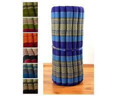 Kapok Rollmatte in 190cm x 75cm x 4,5cm; Liegematte bzw. Yogamatte, Thaikissen, Thaimatte als asiatische Rollmatratze (blau)