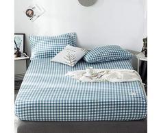 GUANLIDE Baumwolle Spannbettlaken,Spannbetttücher, flaches Stück Baumwolle, Matratzenschoner für Schlafzimmertextilien vertiefenBlau kariert_150 * 200cm