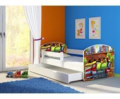 Clamaro Fantasia Weiß 160 x 80 Kinderbett Set inkl. Matratze, Lattenrost und mit Bettkasten Schublade, mit verstellbarem Rausfallschutz und Kantenschutzleisten, Design: 44 Lokomotive