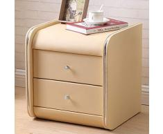 Yxsd Nachttisch Locker Leder Nachttisch Nachttisch mit Schubladenschrank (Farbe : Beige)