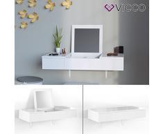 VICCO Schminktisch MIA Weiß hochglanz wandhängend - Frisiertisch Kommode Spiegel +++ Schminkkommode mit 2 Schubfächer und einklappbaren Spiegel +++