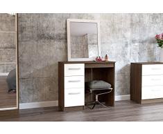 Birlea Furniture Lynx Frisiertisch mit 3 Schubladen, Holz-Optik / cremefarben, 121 cm, doppelt