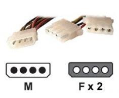 Dexlan Kabel Netzteil interne Stromversorgung 4 Tellerrahmen (M) interne Stromversorgung 4 Tellerrahmen (F) 20 cm