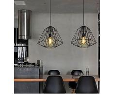 Glighone Industrial Hängeleuchte Vintage Industrie Hängelampe Pendelleuchte  Schwarz Käfig Design Für Esstisch Loft Coffee Bar Restaurant