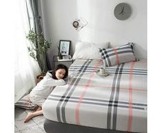 GUANLIDE spannbettlaken beistellbett,Spannbetttücher, flaches Stück Baumwolle, Matratzenbezug für Schlafzimmertextilien vertiefenBeige Plaid_180 * 200cm