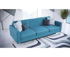 MG Home Sofa Doppelschlafsofa Dreisitzer-Sofa schmutzabweisendes Gewebe auf Beinen mit Schlaffunktion mit einem Behälter für Bettwäsche Arte DL (Türkis)