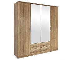 Falttürenschrank Kian Sonoma Eiche grau 4 Türen B 181 cm/H 212 cm Kinder Jugend Schlafzimmer Wäscheschrank Spiegelschrank Kleiderschrank