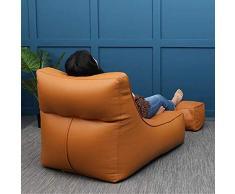 QZ-ICZY Einzel Faule Schlafsofa, Einzelsitzsack Schlafzimmer Wohnzimmer EPS Particle Foam PU-Leder Art kleines Sofa Computer Stuhl Recliner,Gelb